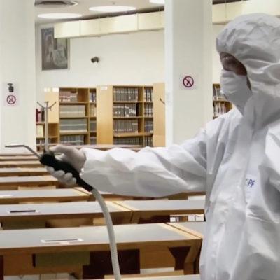 PFE su TG2 del 17 aprile 2020: la sanificazione della Biblioteca Sormani del Comune di Milano